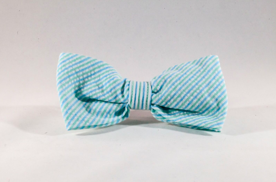 Preppy Mint Green Seersucker Dog Bow Tie