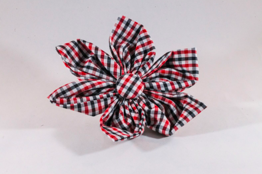 Preppy Black and Red Gingham Georgia Bulldogs Girl Flower Bow Tie