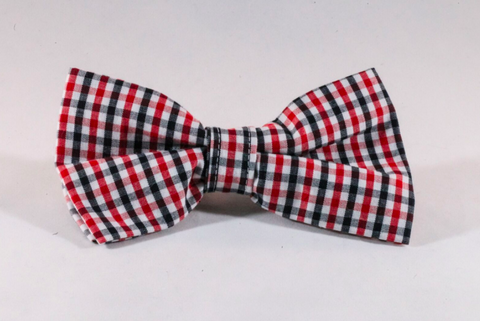Preppy Black and Red Gingham Georgia Bulldogs Dog Bow Tie