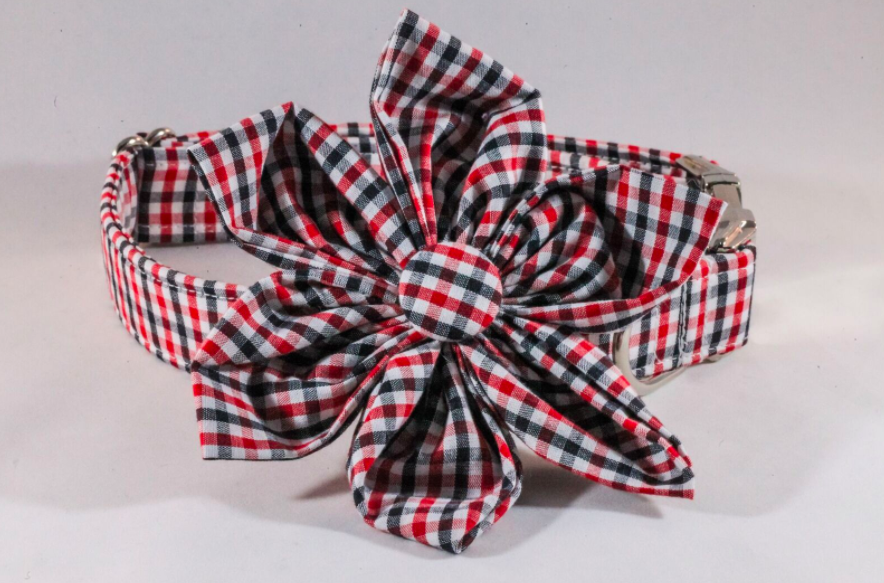 Preppy Black and Red Gingham Girl Dog Georgia Bulldogs Flower Bow Tie Collar