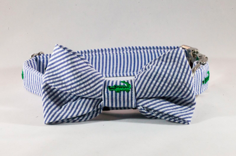 Preppy Navy Alligator Seersucker Bow Tie Dog Collar