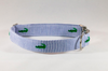 Preppy Navy Alligator Critter Seersucker Dog Collar