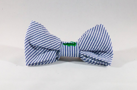 Preppy Navy Alligator Seersucker Dog Bow Tie