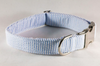 Preppy Classic Blue Seersucker Bow Tie Dog Collar