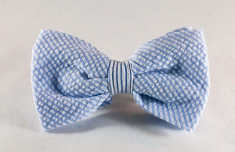 Preppy Classic Blue Seersucker Dog Bow Tie