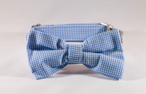 Preppy Carolina Blue Gingham Tarheel Dog Bow Tie Collar