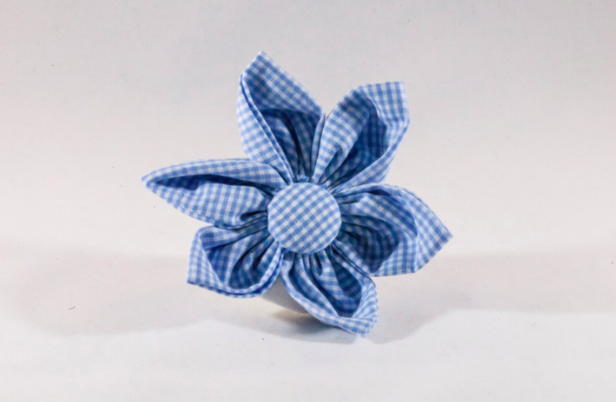 Preppy Carolina Blue Gingham Tarheel Girl Dog Flower Bow Tie