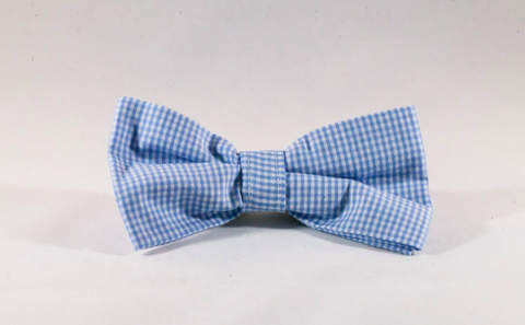 Preppy Carolina Blue Gingham Tarheel Dog Bow Tie