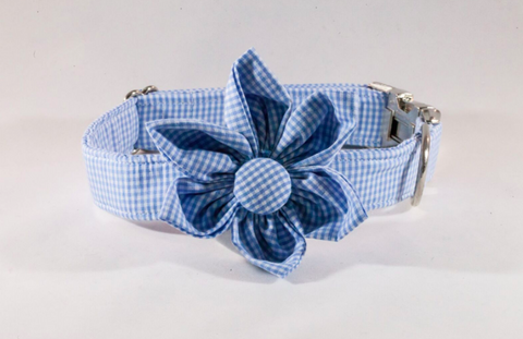 Preppy Carolina Blue Gingham Tarheel Girl Dog Flower Bow Tie Collar