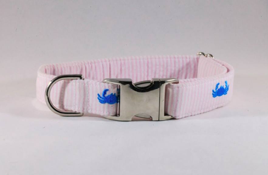 Preppy Pink Crab Seersucker Dog Collar
