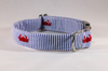 Preppy Navy Blue Crab Seersucker Bow Tie Dog Collar