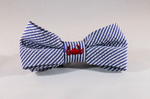 Preppy Navy Blue Crab Seersucker Dog Bow Tie
