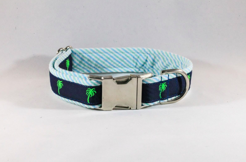 Seersucker Palmetto Palm Tree Dog Collar