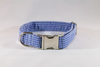 Preppy Navy Blue Gingham Seersucker Dog Collar