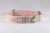 Preppy Pink and Green Gingham Dog Collar