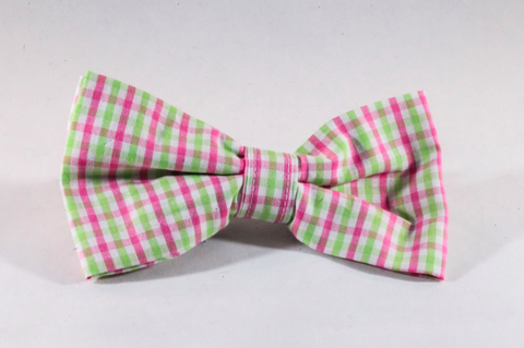 Preppy Pink and Green Gingham Dog Bow Tie