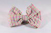 Preppy Pink and Green Gingham Girl Dog Bow Tie