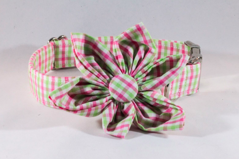 Preppy Pink and Green Gingham Girl Dog Flower Bow Tie Collar
