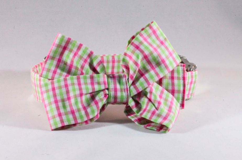 Preppy Pink and Green Gingham Girl Dog Bow Tie Collar