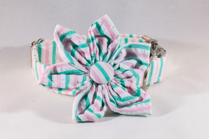 Preppy Pink and Green Seersucker Girl Dog Flower Bow Tie Collar