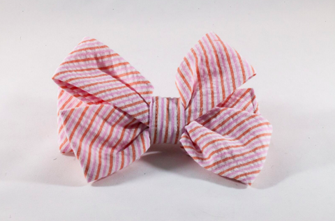 Preppy Pink and Orange Sherbet Seersucker Girl Dog Bow Tie