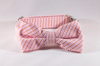 Preppy Pink and Orange Sherbet Seersucker Bow Tie Dog Collar
