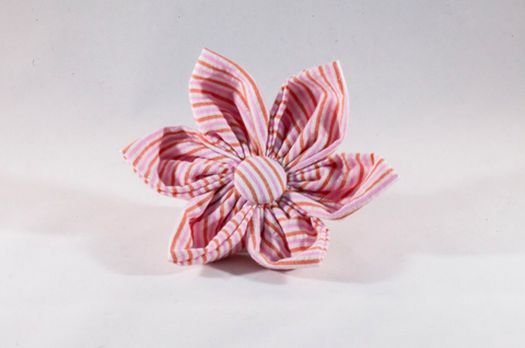 Preppy Pink and Orange Sherbet Seersucker Girl Dog Flower Bow Tie