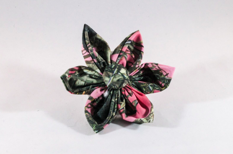 Camo Sporting Pup Pink Girl Dog Flower Bow Tie