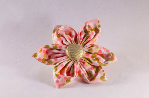 Champagne Pop Pink and Gold Polka Dot Girl Flower Bow