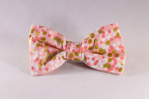 Champagne Pop Pink and Gold Polka Dot Dog Bow Tie