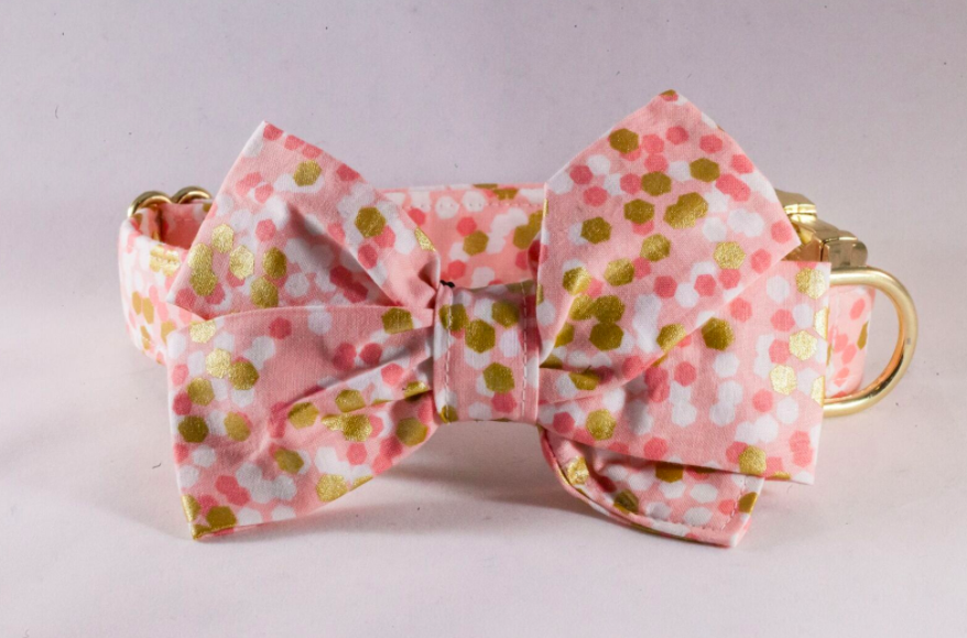 Champagne Pop Pink and Gold Polka Dot Girl Dog Bow Tie Collar--Valentine's Day