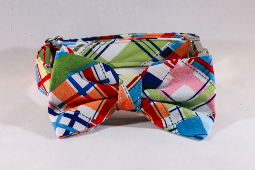 Preppy Madras Bow Tie Dog Collar