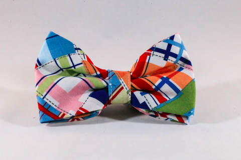 Preppy Madras Dog Bow Tie
