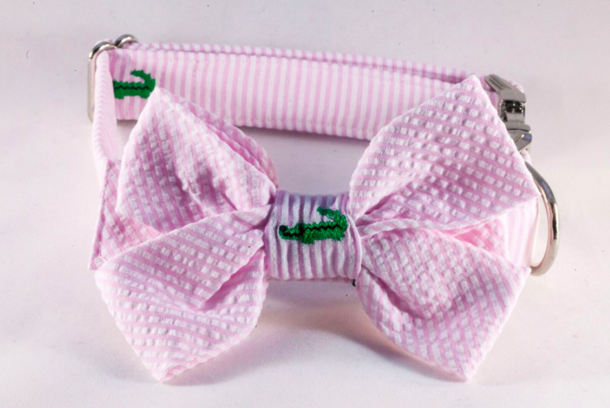Preppy Pink Seersucker Alligator Girl Bow Tie Dog Collar