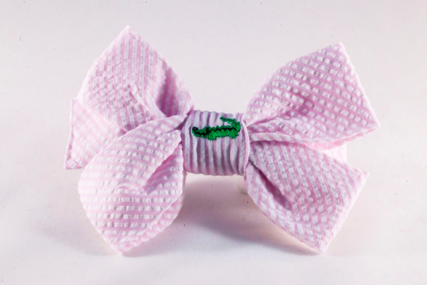 Preppy Pink Seersucker Alligator Girl Dog Bow Tie