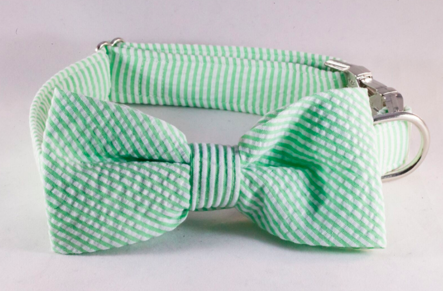 Preppy Green Seersucker Bow Tie Dog Collar