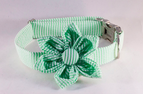 Preppy Green Seersucker Girl Dog Bow Tie Collar