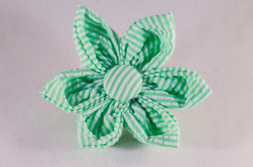 Preppy Green Seersucker Girl Dog Flower Bow Tie
