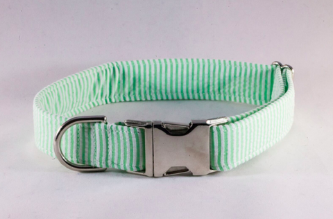 Preppy Green Seersucker Dog Collar