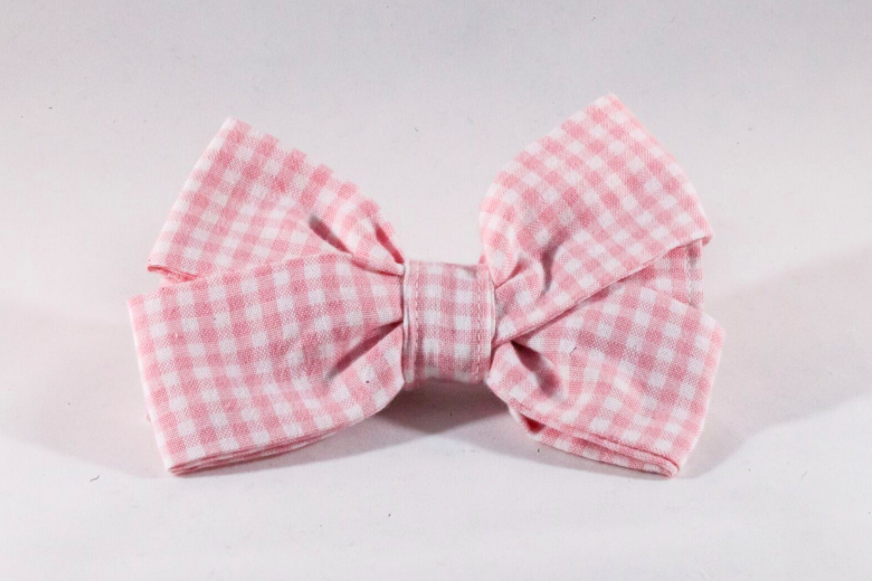 Preppy Pink Gingham Girl Dog Bow Tie