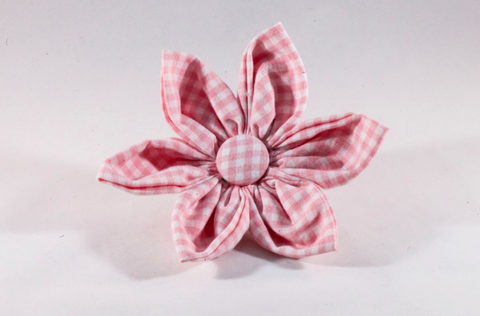 Preppy Pink Gingham Girl Dog Flower Bow Tie