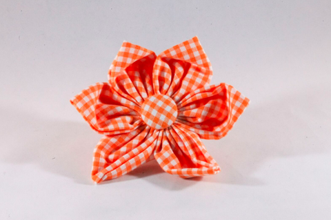 Preppy Orange and White Gingham Girl Dog Flower Bow Tie