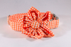 Preppy Orange Gingham Girl Dog Flower Bow Tie Collar