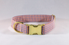 Preppy Navy and Orange Gingham Auburn Dog Collar