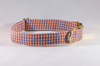 Preppy Navy and Orange Gingham Auburn Tigers Girl Dog Bow Flower Tie Collar