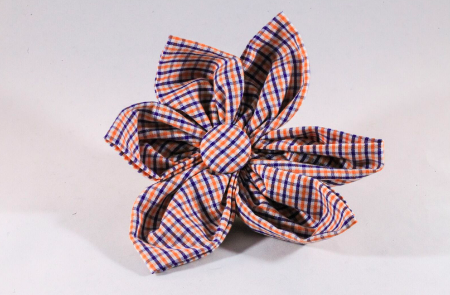 Preppy Navy and Orange Gingham Auburn Tigers Girl Dog Flower Bow Tie