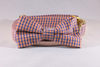 Preppy Navy and Orange Gingham Auburn Tigers Dog Bow Tie Collar