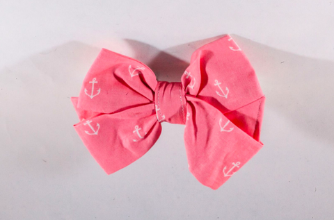 Pink Anchor Girl Dog Bow Tie