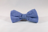 Preppy Navy Blue Gingham Seersucker Dog Bow Tie