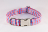 Preppy Red White and Blue Gingham Girl Dog Bow Tie Collar, Ole Miss Rebels
